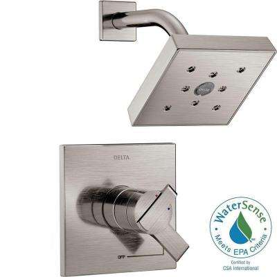 Ara 1-Handle H2Okinetic Shower Faucet Trim Kit in Stainless (Valve Not Included)