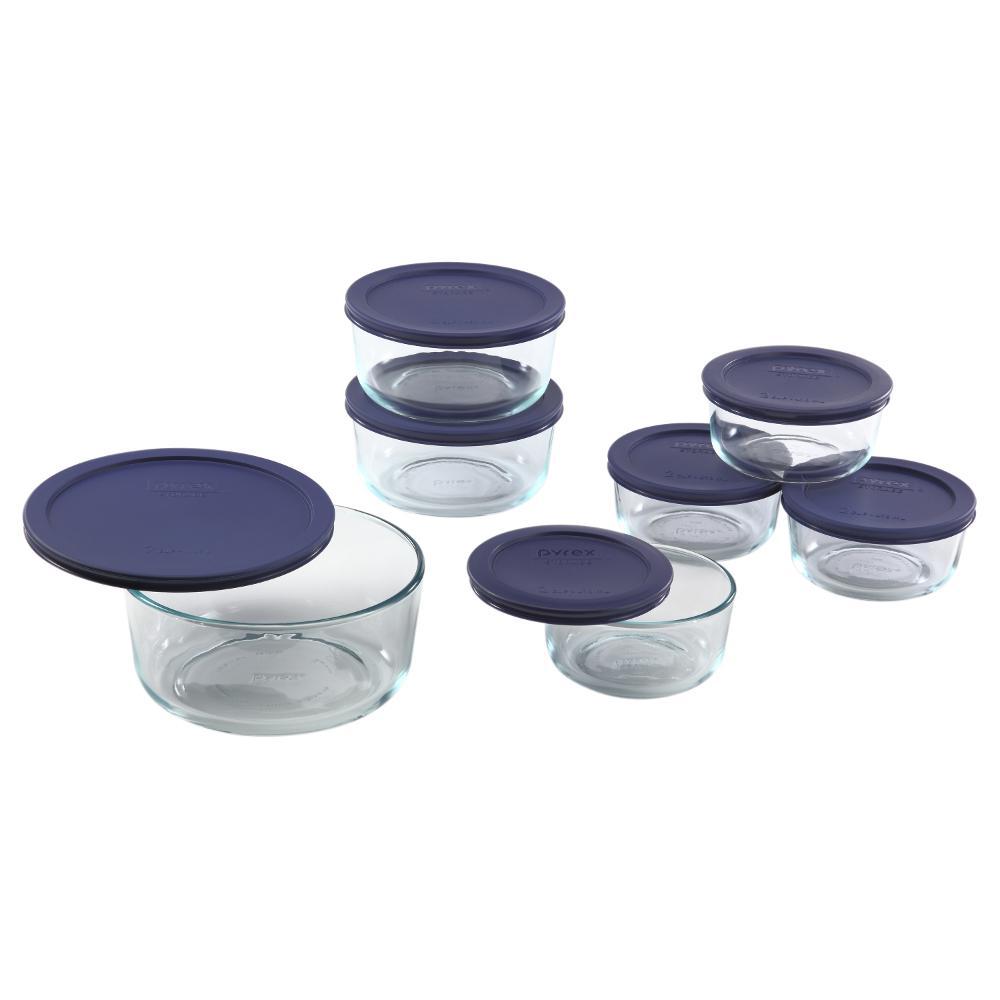 Simply Store 14-Piece Round Glass Storage Set with Blue Lids