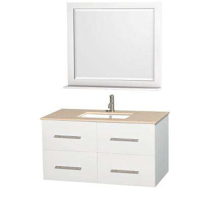 Centra 42 in. Vanity in White with Marble Vanity Top in Ivory, Undermount Square Sink and 36 in. Mirrors