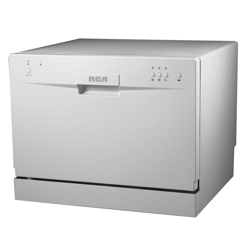 Home Depot Portable Dishwashers : Rca electronic countertop dishwasher in white with place