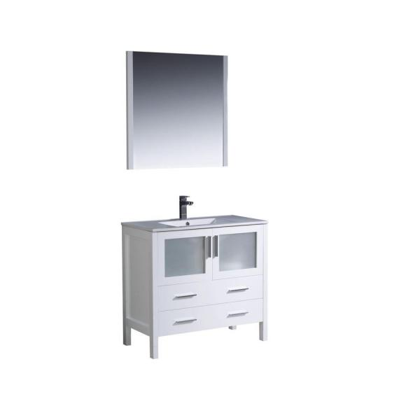 Fresca Torino 36 In Vanity In White With Ceramic Vanity Top In White With White Basin And Mirror Fvn6236wh Uns The Home Depot