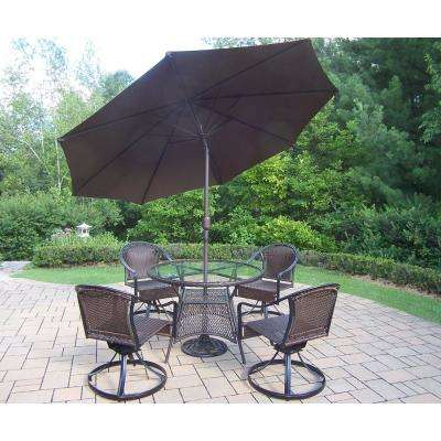 Tuscany 7 Piece Wicker Outdoor Dining Set And Brown Umbrella
