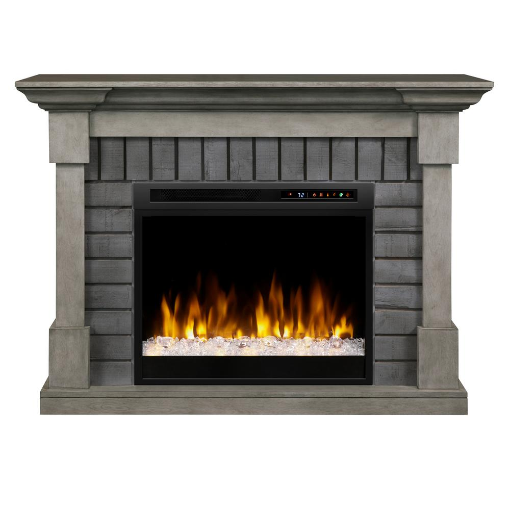 Dimplex royce 52 in mantel in smoke stak grey with 28 in - Going to bed with embers in fireplace ...
