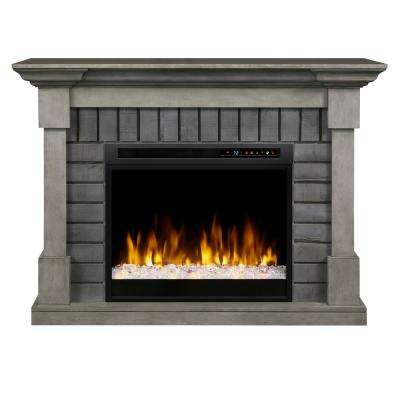 Royce 52 in. Mantel in Smoke Stak Grey with 28 in. Electric Fireplace with Glass Ember Bed
