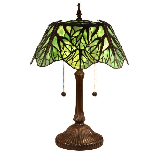 23.5 in. Antique Bronze Table Lamp with Hand Rolled Art Glass