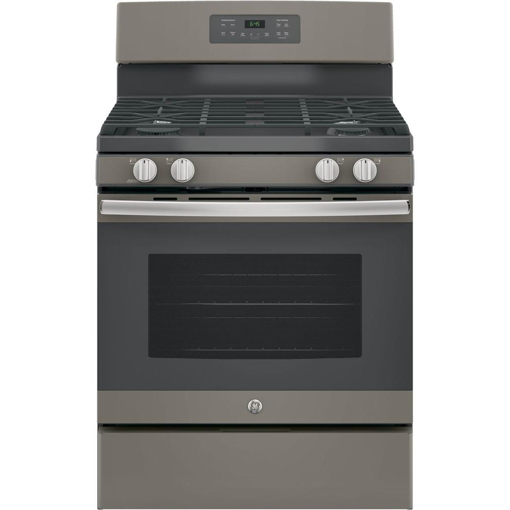 GE 30 in. 5 cu. ft. Free-Standing Gas Range in Slate, Fingerprint Resistant