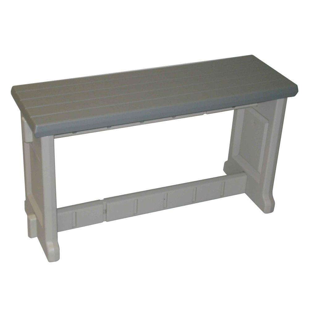 36 in. Gray Resin Patio Bench