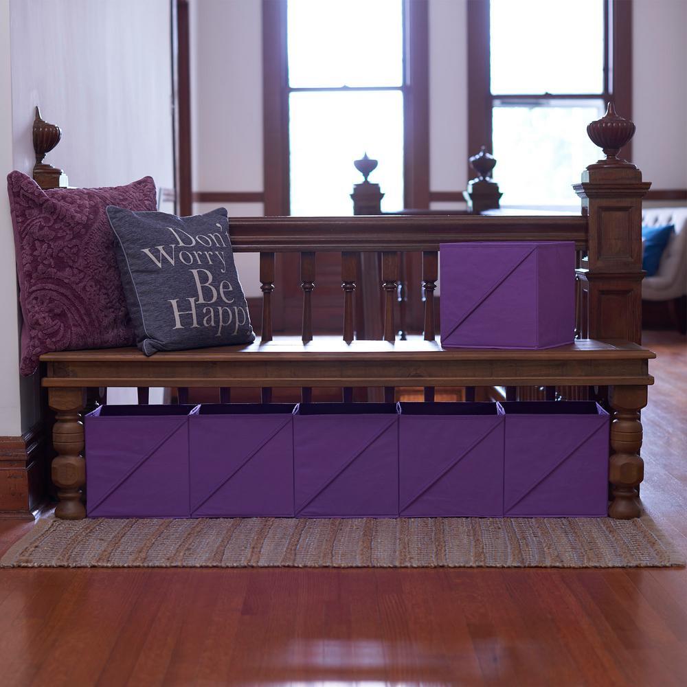 11 in. x 11 in. Purple Bin Set ((6-Pack))