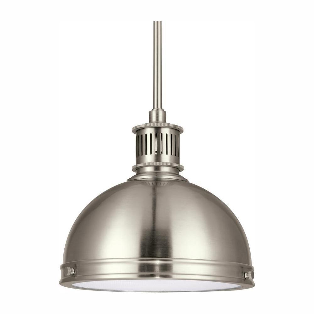 Pratt Street Metal 1-Light Brushed Nickel Pendant with LED Bulb
