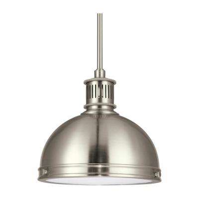Pratt Street Metal 1-Light Brushed Nickel Pendant with LED Bulb