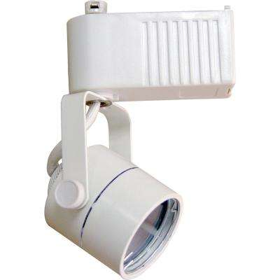 1-Light White Low Voltage Adjustable Small Gimbal Ring Round Back Cylinder Track Lighting Head