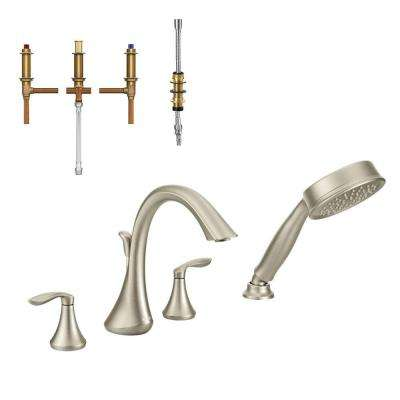 Eva 2-Handle Deck-Mount Roman Tub Faucet Trim Kit with Handshower and Valve in Brushed Nickel