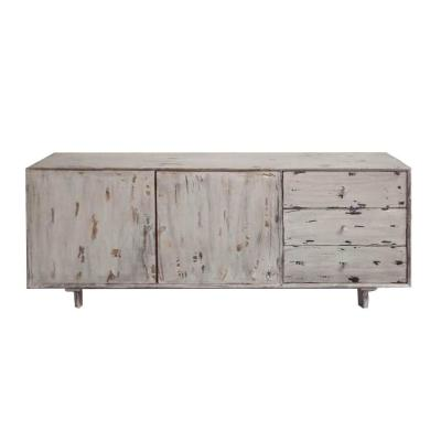 Antique White Distressed 2-Door Storage Mango Wood Accent Cabinet with 3-Drawers 68 in. L x 14 in. W x 30 in. H