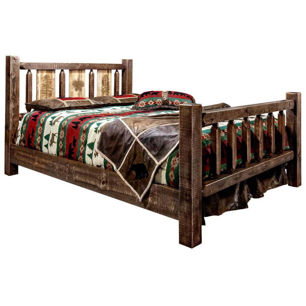 Homestead Collection Medium Brown King Laser Engraved Pine Motif Platform Bed