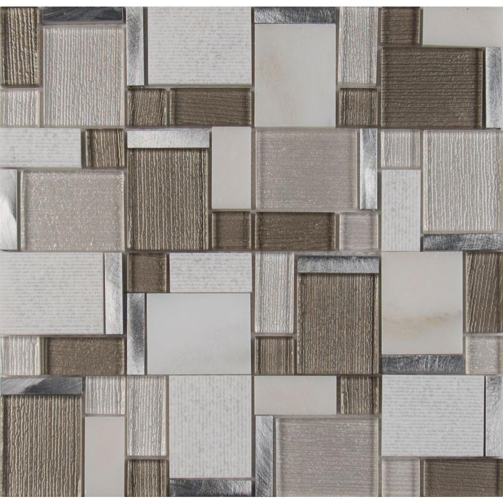 Magica 12 in. x 12 in. x 6 mm Glass and Stone Mesh-Mounted Mosaic ...