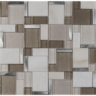 Magica 12 in. x 12 in. x 6 mm Glass and Stone Mesh-Mounted Mosaic Tile (1 sq. ft.)