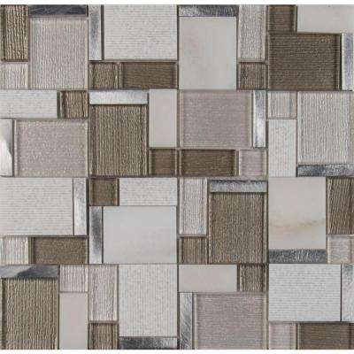 Magica 12 in. x 12 in. x 6 mm Glass and Stone Mesh-Mounted Mosaic Tile