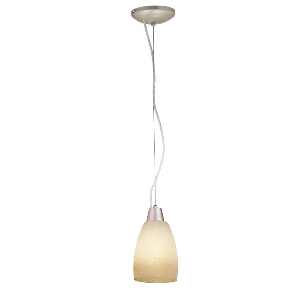 Access Lighting 1-Light Pendant Brushed Steel Finish French Amber Glass-DISCONTINUED