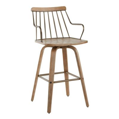 Preston 26 in. Spindle Back White Washed Wood & Antique Copper Metal Counter Height Stool