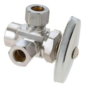 Brasscraft 1/2 inch Nom Sweat Inlet x 3/8 inch O.D. Comp x 3/8 inch O.D. Comp Dual Outlet Multi-Turn Valve by BrassCraft