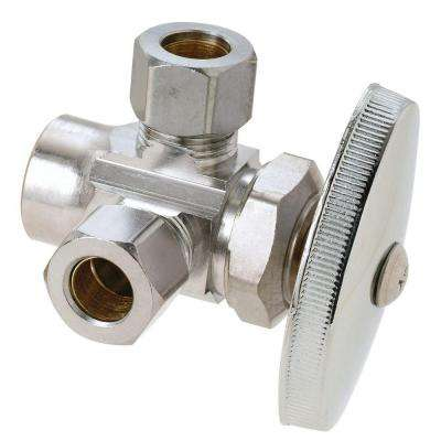 1/2 in. Nom Sweat Inlet x 3/8 in. O.D. Comp x 3/8 in. O.D. Comp Dual Outlet Multi-Turn Valve