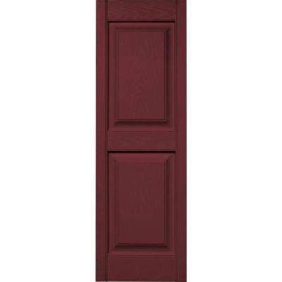 15 in. x 47 in. Raised Panel Vinyl Exterior Shutters Pair in #078 Wineberry