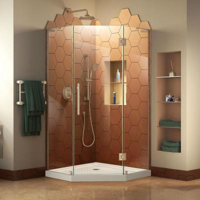 Prism Plus 42 in. x 42 in. x 74.75 in. Semi-Frameless Neo-Angle Hinged Shower Enclosure in Brushed Nickel and Base