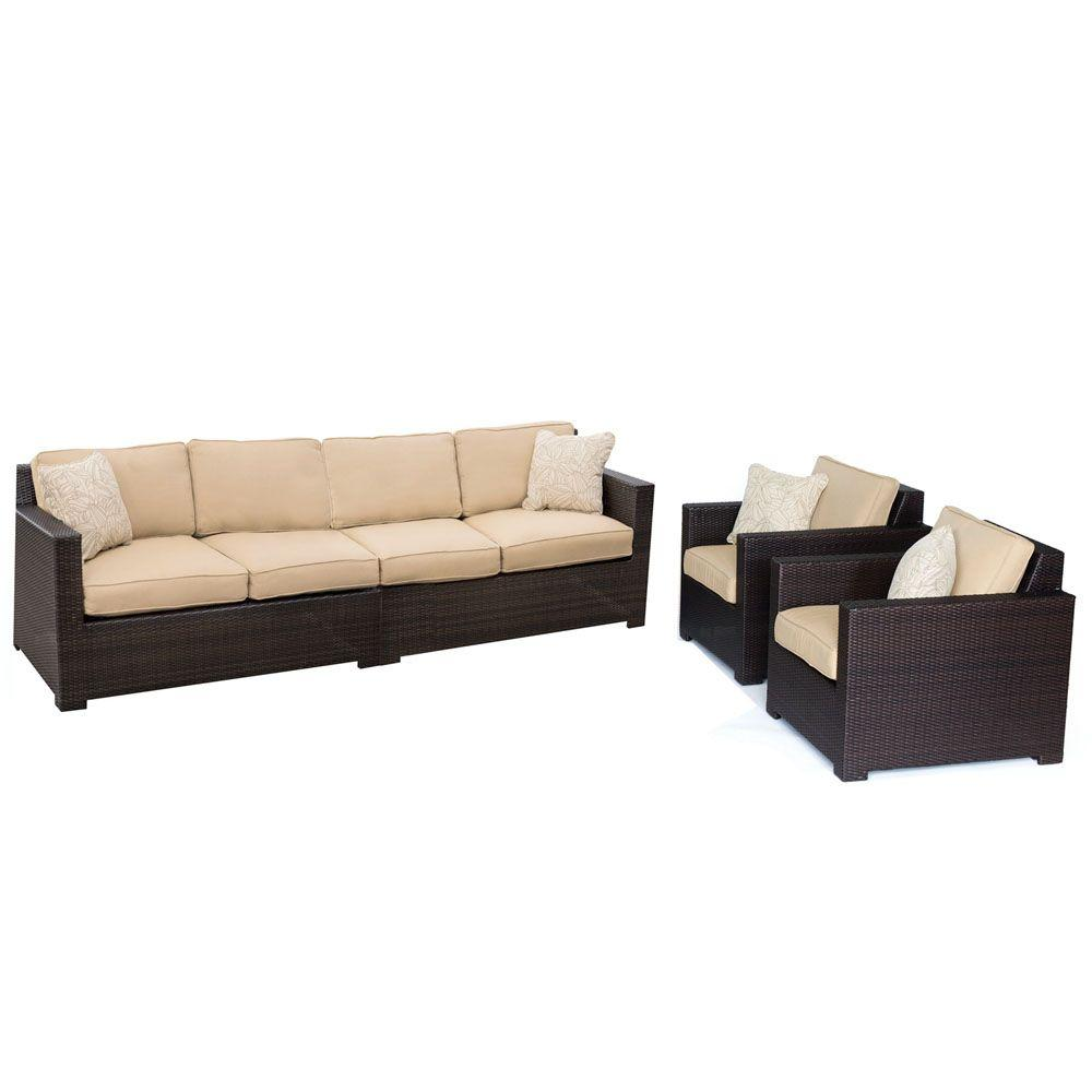 Metropolitan 4-Piece All-Weather Wicker Patio Seating Set with Sahara Sand