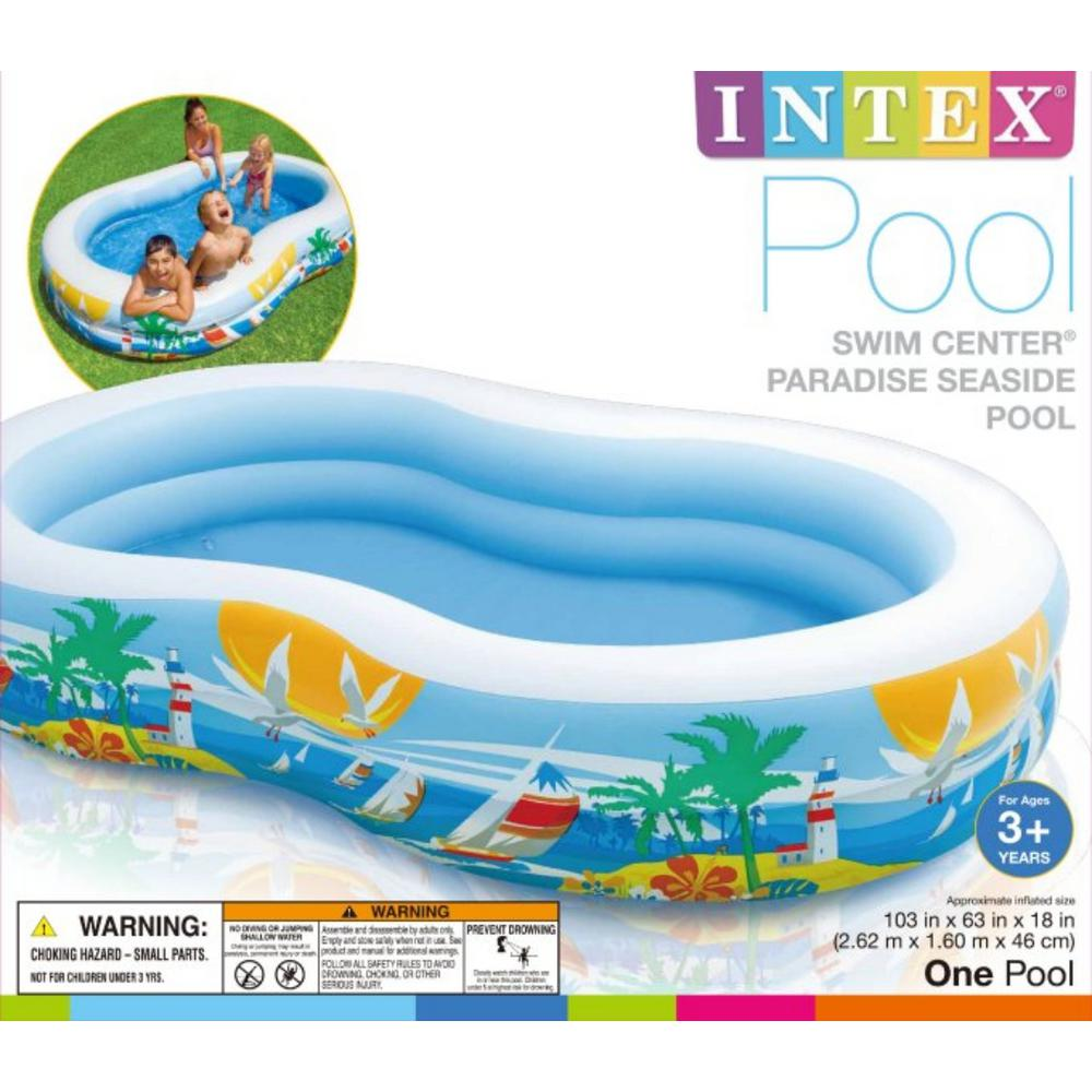 Intex 63 in. x 18 in. Deep Swim Center Inflatable Paradise Seaside Kids  Swimming Pool with Air Pump