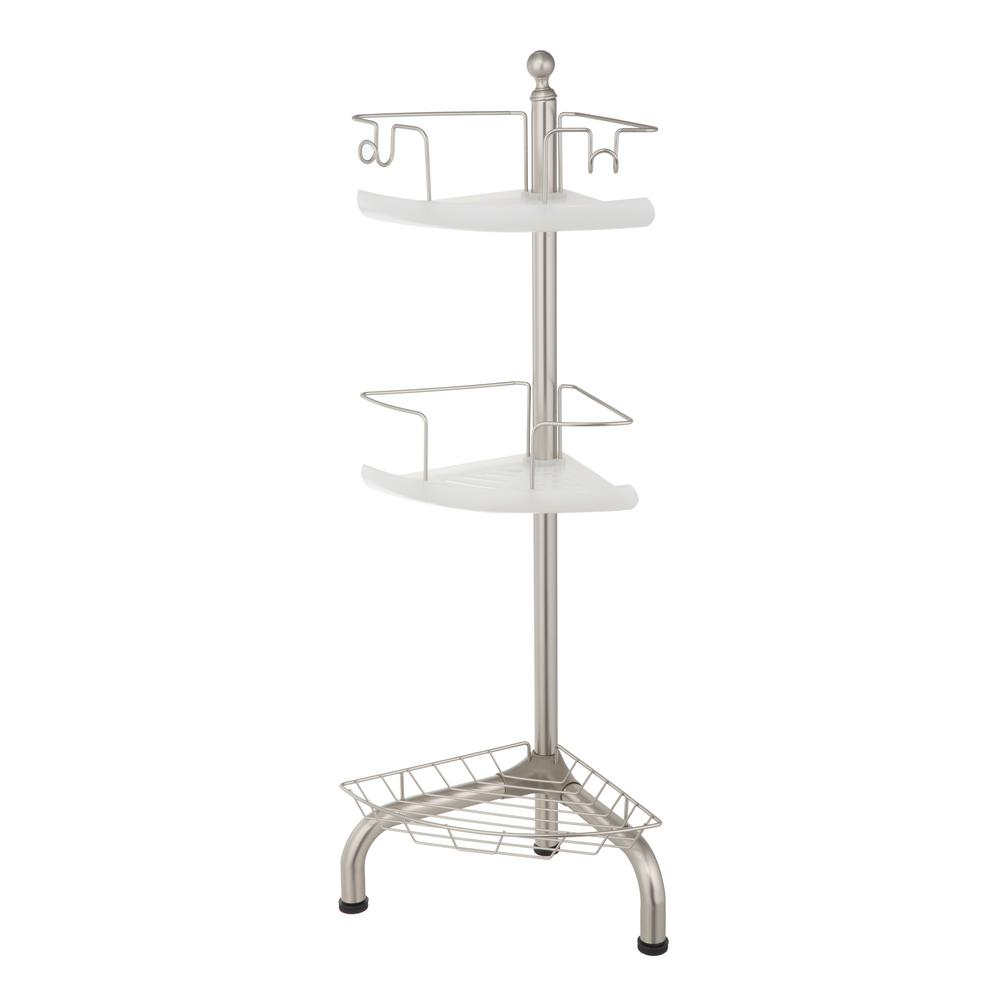 Home Zone 3 Tier Adjustable Corner Shower Caddy, Satin Nickel Finish ...