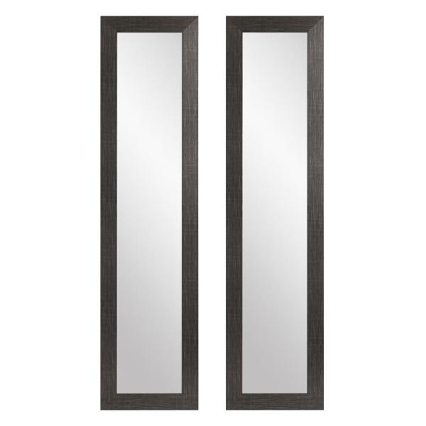 Oversized Black W/Silver Accents Composite Hooks Mid-Century Modern Mirror (71 in. H X 16 in. W)