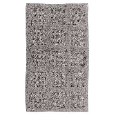 Square Honeycomb Silver 24 in. x 17 in. Reversible Bath Rug