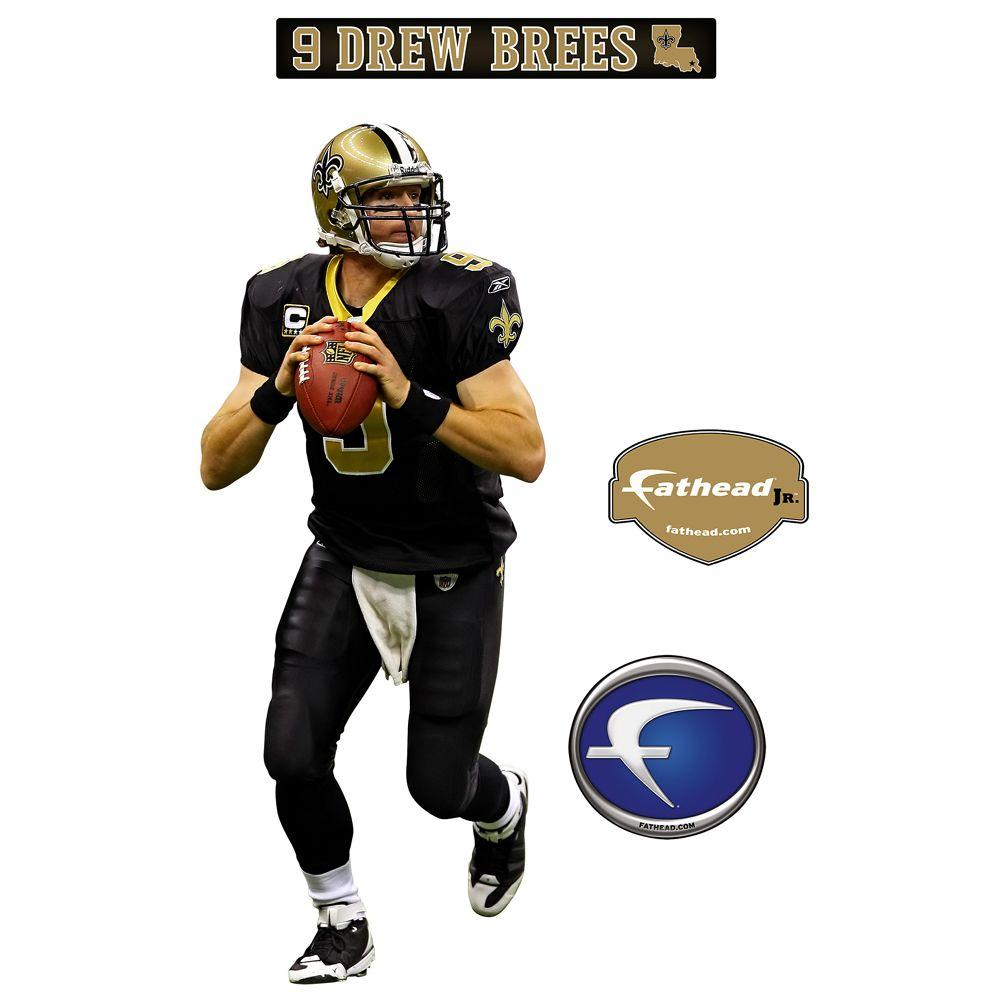 Fathead 13 in. x 32 in. Drew Brees New Orleans Saints Wall Decal