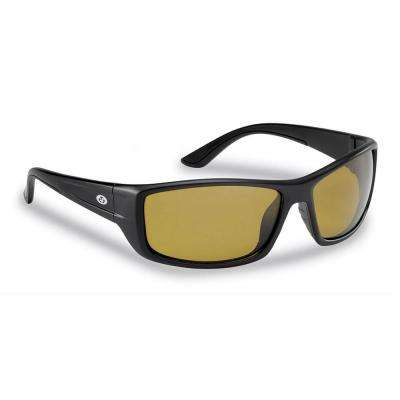 Buchanan Polarized Sunglasses Matte in Black Frame with Yellow Amber Lens