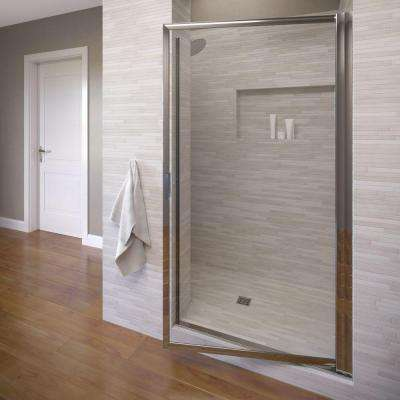 Deluxe 29-1/2 in. x 70-1/2 in. Framed Pivot Shower Door in Silver with AquaGlideXP Clear Glass