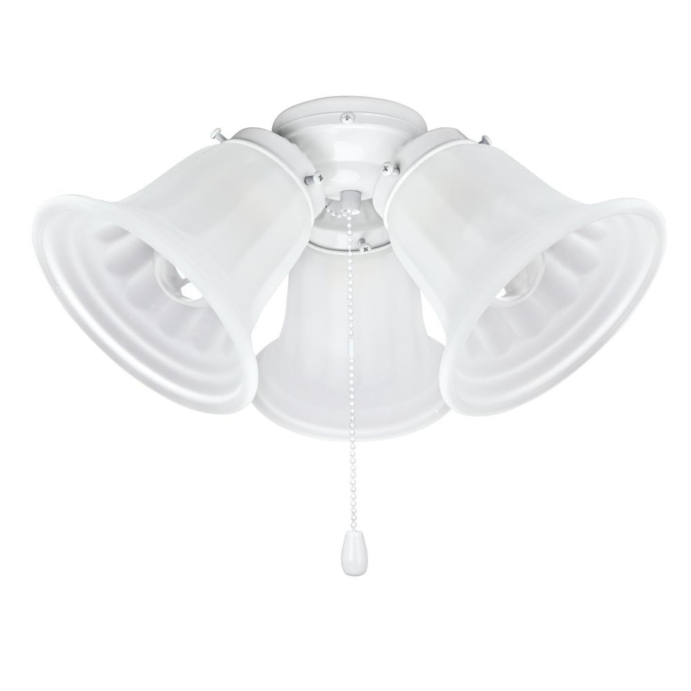 3-Light 5-1/2 in. Painted White Ceiling Fan Fitter Light Kit with