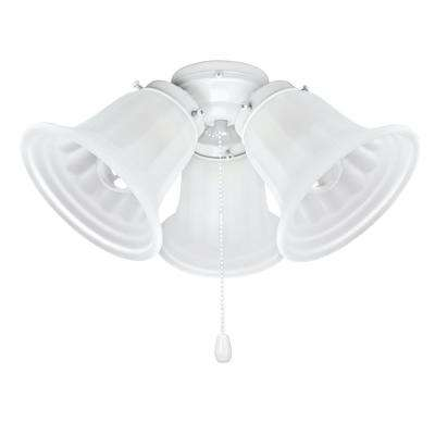 3-Light 5-1/2 in. Painted White Ceiling Fan Fitter Light Kit with Pull Chain (1-Pack)