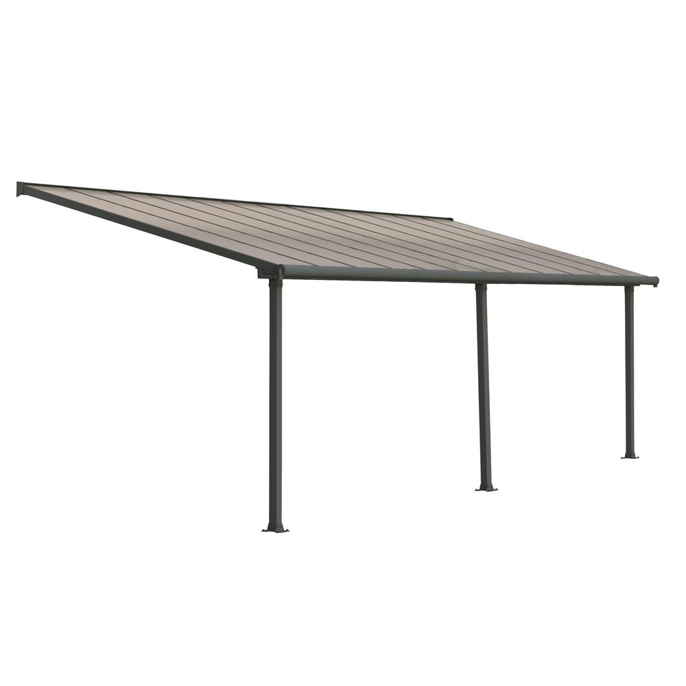 Palram Olympia 10 ft. x 24 ft. Grey/Bronze Patio Cover Awning