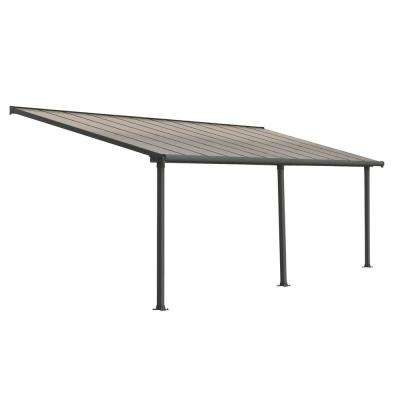 Olympia 10 ft. x 24 ft. Grey/Bronze Patio Cover Awning