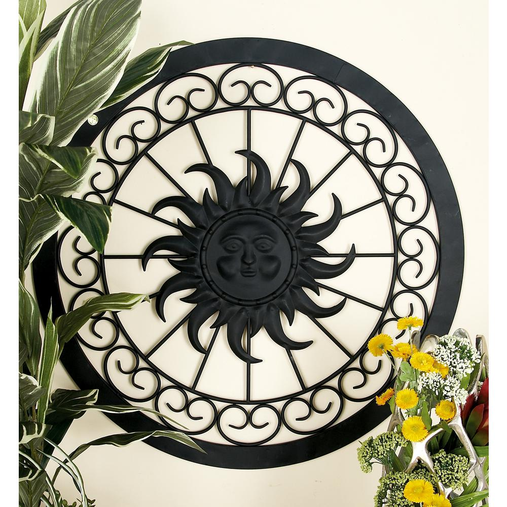 Iron Black Rustic Sun Face Round Framed Metal Wall Decor
