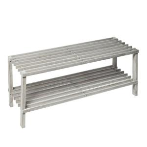11.6 in. H x 10.4 in. W 8-Pair Gray Rustic Pine Freestanding Shoe Rack with 2-Tiers