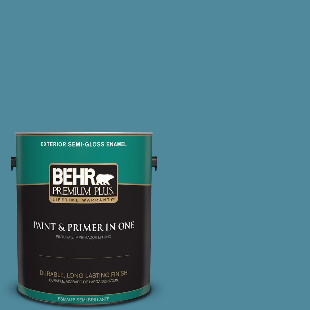 BEHR Premium Plus 1-gal. #S460-5 Blue Square Semi-Gloss Enamel Exterior Paint