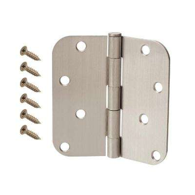 4 in. Satin Nickel 5/8 in. Radius Door Hinge