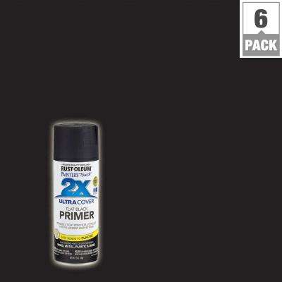 12 oz. Black Flat Primer General Purpose Spray Paint (6-Pack)