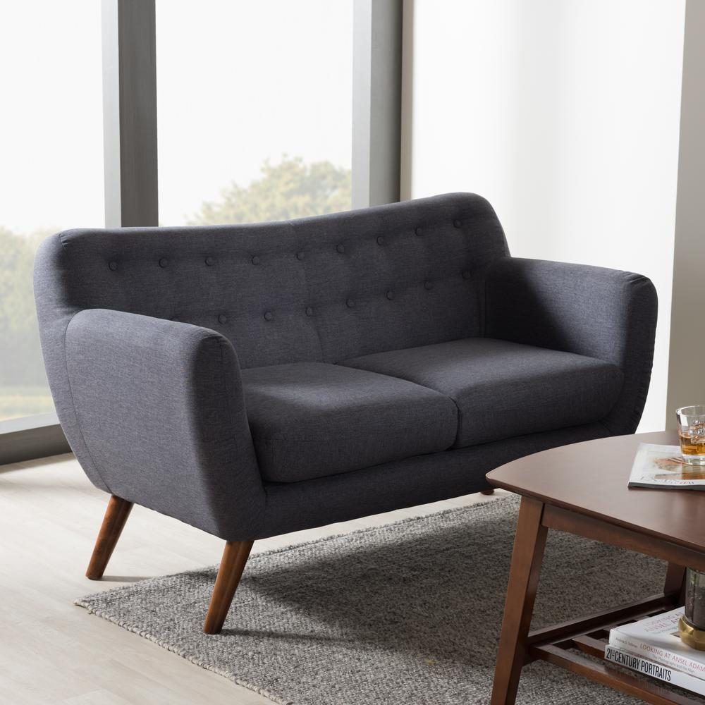 Harper Mid-Century Dark Gray Fabric Upholstered Loveseat