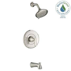 Glacier Bay Builders Handle Spray Tub And Shower Faucet In - Brushed nickel tub shower faucet set