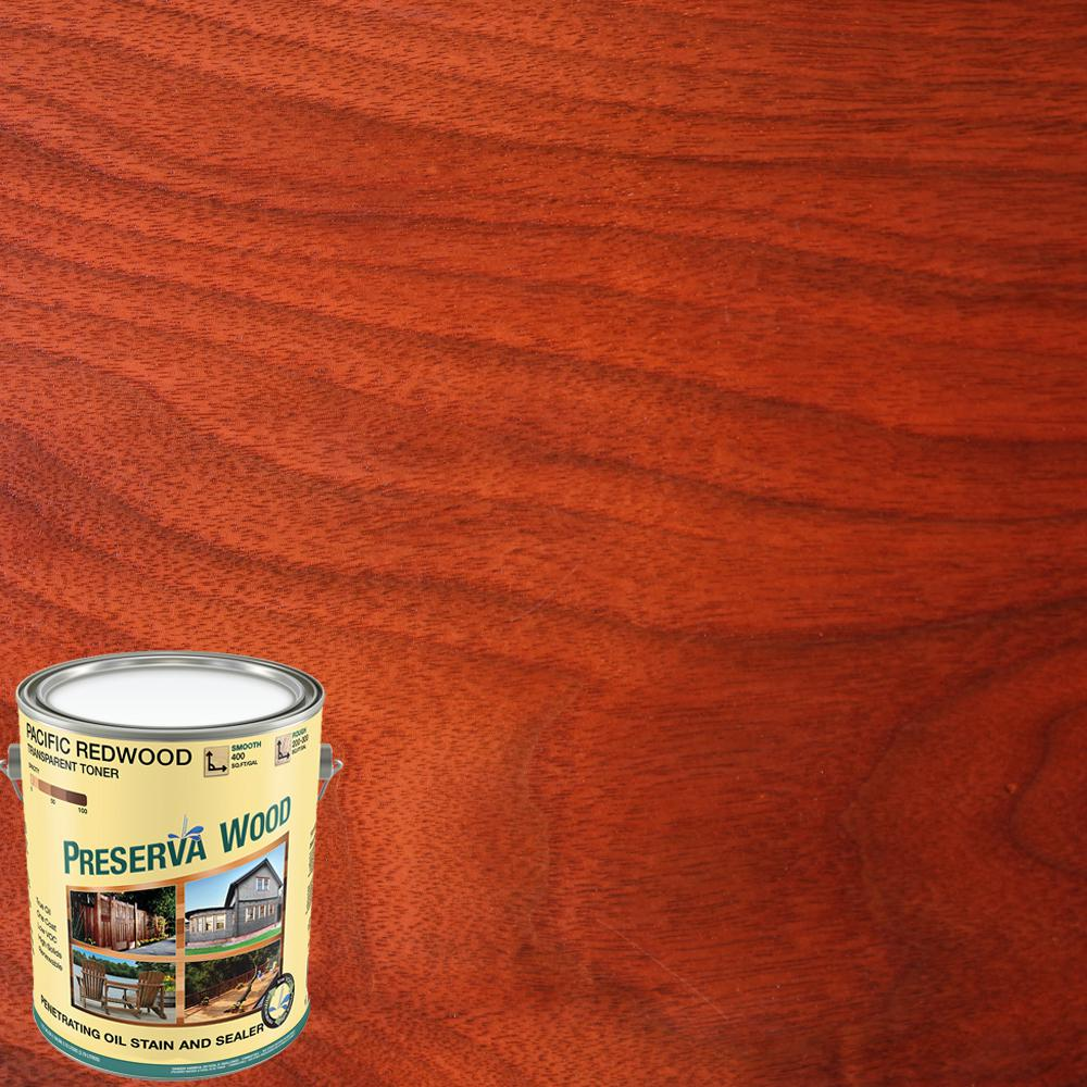 Preserva Wood 1 qt. 100 VOC Oil-Based Pacific Redwood Penetrating Exterior Stain and Sealer