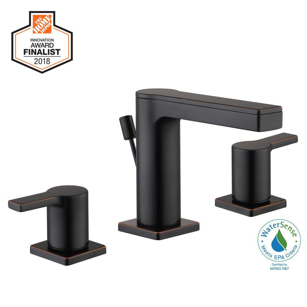Modern Contemporary 8 in. Widespread 2-Handle Low-Arc Bathroom Faucet in Bronze