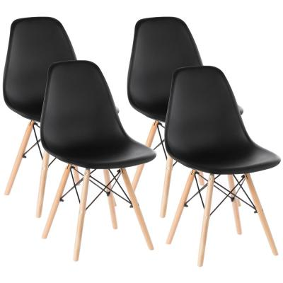 Mid-Century Modern Black Style Plastic DSW Shell Dining Chair with Solid Beech Wooden Dowel Eiffel Legs (Set of 4)