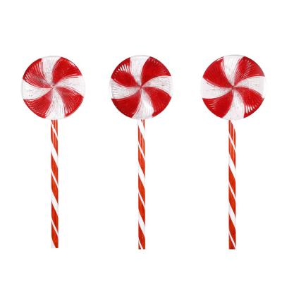 28 in. Tall Candy Cane Pathway with Red and White LED Lights, (Set of 3)
